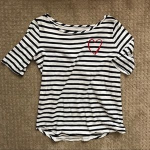 LOFT striped shirt with heart